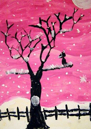 """Tints of Winter This is one of my favorite value study projects.  Great silhouette, crayon resist, value lesson.  Use Pablo Picasso's """"Winter Trees"""" for Art History in connection with this project."""