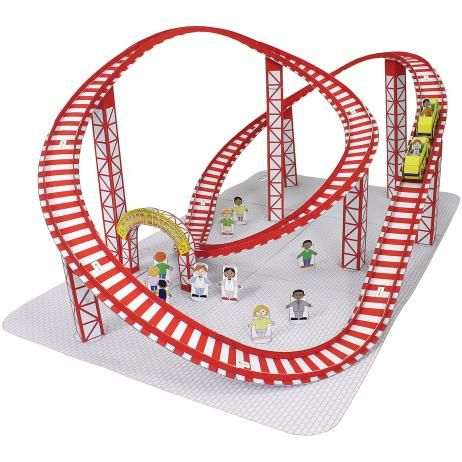 free pdf--Amusement Park(Roller coaster),Toys,Paper Craft,red,amusement park,vehicle,toy