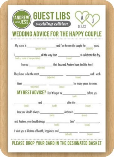 Mad Libs Wedding Guest Book - Etsy:  InkdDesignStudio