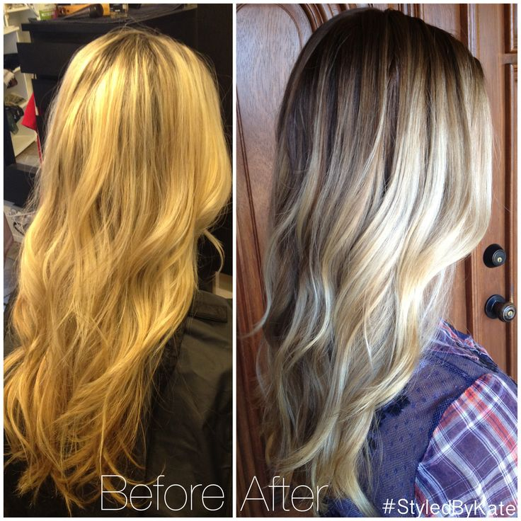 Before and after grown out foiled blonde highlights to natural looking balayage streaks and a
