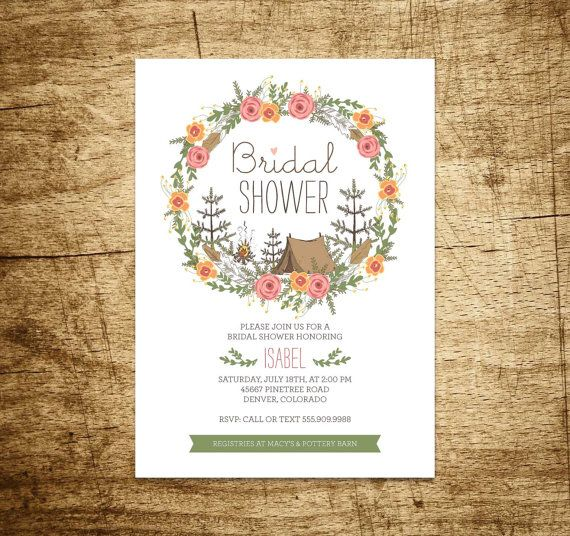 Printable Bridal Shower Invitation, Bachelorette Party, Camping, Boho, Floral wreath, Flowers, tent, woods, woodland