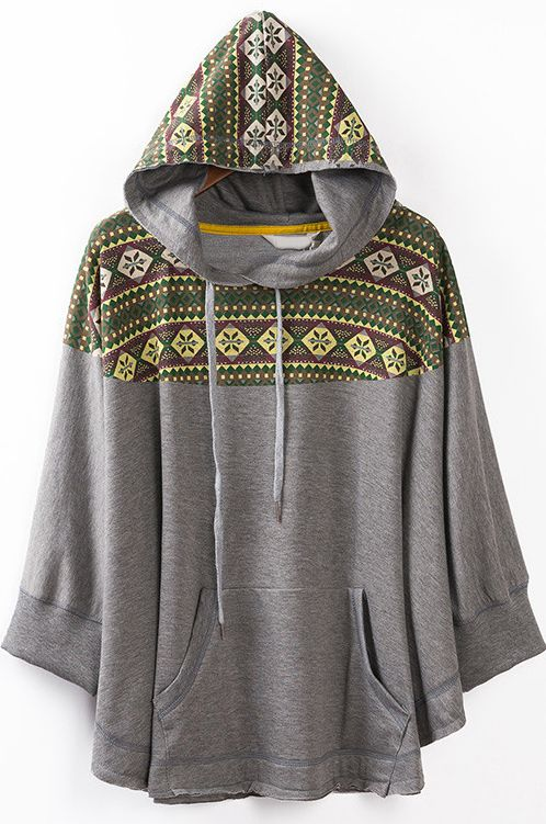 Grey Hooded Batwing Vintage Floral Loose Outerwear - Sheinside.com