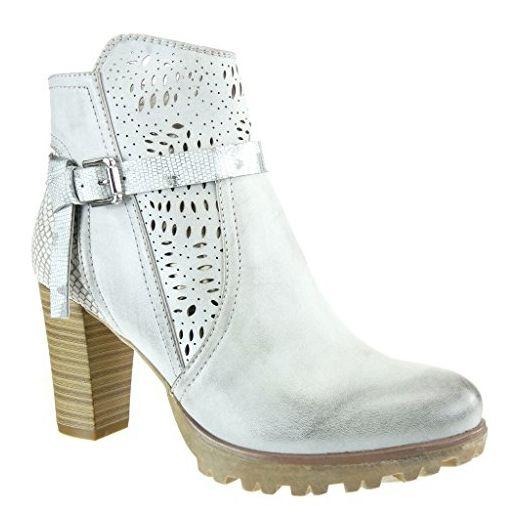 Angkorly - damen Schuhe Stiefeletten - Reitstiefel - Kavalier - bi-Material - Schlangenhaut - Knoten - camouflage Blockabsatz high heel 8 CM - Grau F2026 T 36 - Stiefel für frauen (*Partner-Link)