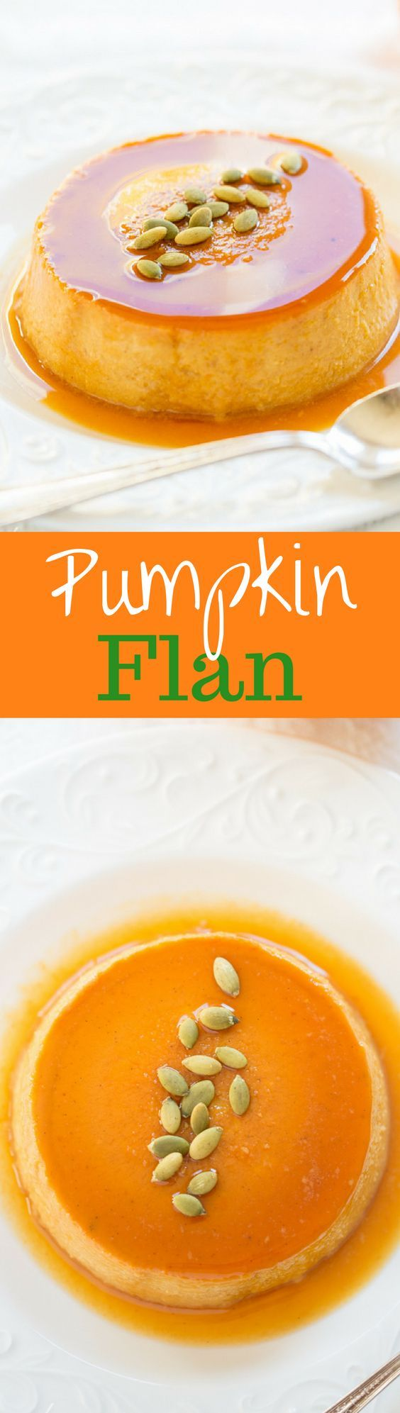 Pumpkin Caramel Flan - a silky smooth, creamy custard that's loaded with pumpkin, and pumpkin pie spice, with a layer of soft caramel on top. Garnish with roasted, salted pepitas for a wonderful treat. www.savingdessert.com