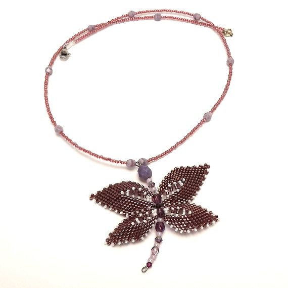 FREE SHIPPING Purple Dragonfly purple peyote dragonfly by Mamyblue, $60.00