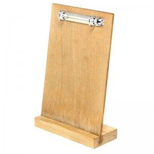 Tavistock wooden menu holder with ring binder, side view