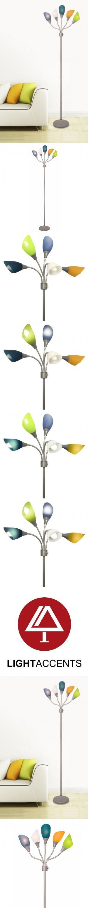Threshold torchiere floor lamp textured bronze 65 - Light Accents Medusa Silver Floor Lamp With Multicolor Acrylic Shades
