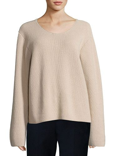 "Grisa Ribbed Scoop-Neck Sweater by The Row. THE ROW ""Grisa"" ribbed knit sweater. Scoop neckline. Long sleeves. Relaxed silhouette. Straight hem. Pullover style. ..."