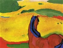 Horse in a landscape - Franz Marc- 1910