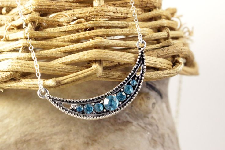 Blue Rhinestone Pendant and Sterling Silver Chain Necklace, Modern Minimal Every Day Wear, Handcrafted, Gift for Her by IvanRoseCreations on Etsy