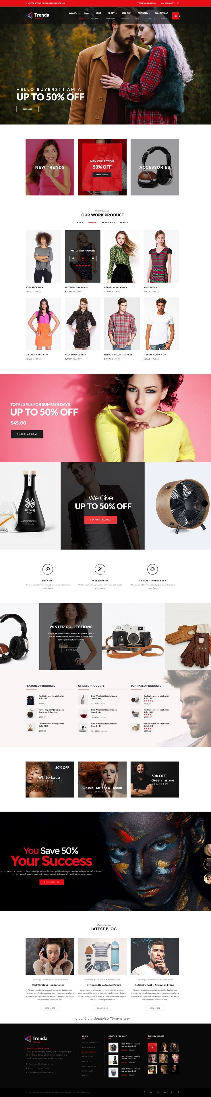 Trenda is premium PSD template is a uniquely eCommerce website template designed in Photoshop with a modern look.