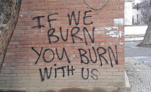 """If we burn, you burn with us,"" I read aloud, the others gaping at the wall as they lurk behind me in uneasiness. ""This must have been written here after the Infestus burned down half of New York City. It's good to know that we're not the alone in this fight."""