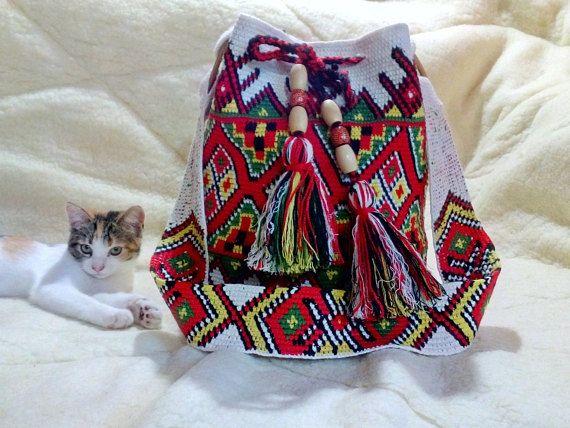 Crocheted Multi-Colored mochila bag  Pattern of Ukrainian