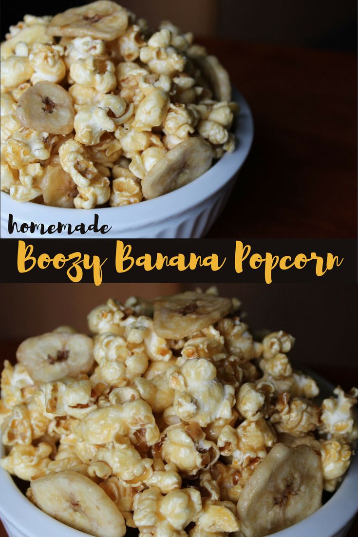 Homemade movie night popcorn like you've never seen before. This Boozy Banana Popcorn is our take on delicious Bananas Foster. Silky caramel infused with a kick of rum and crispy banana chips will take your taste buds to the islands and the sun! This recipe is so easy and the alcohol cooks off so it's perfect for everyone. You can substitute the rum with rum extract for the same mouthwatering flavor! via @kernelseasons