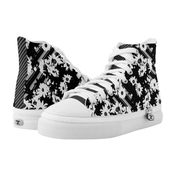 Black white floral stripes pattern High-Top sneakers ($101) ❤ liked on Polyvore featuring shoes, sneakers, high-top sneakers, black and white striped shoes, white and black sneakers, high top shoes and black and white high top sneakers