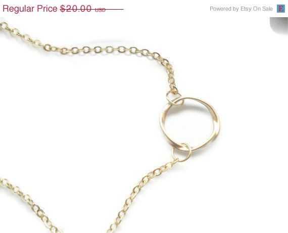 Black Friday-Cyber Monday Twisted Gold Ring Eternity Necklace Gold Circle Pendant Everyday Necklace Gift