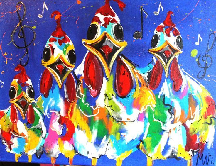 Musical Chicks         Titel: Musical Chicks Materiaal: Acryl op doek Afmeting: 80 x 60 x 2 Gesigneerd: Ja Ingelijst: Nee (3D geschilderd)  Galerie prijs: €460,- Vraagprijs: €250,-  Status: TE KOOP  Interesse in dit kunststuk? Stuur dan een mailtje naar Info@TulipArt.eu of vul het contact formulier in. #Art #Animals #Kunst #Dieren #Schilderijen #Schilderij