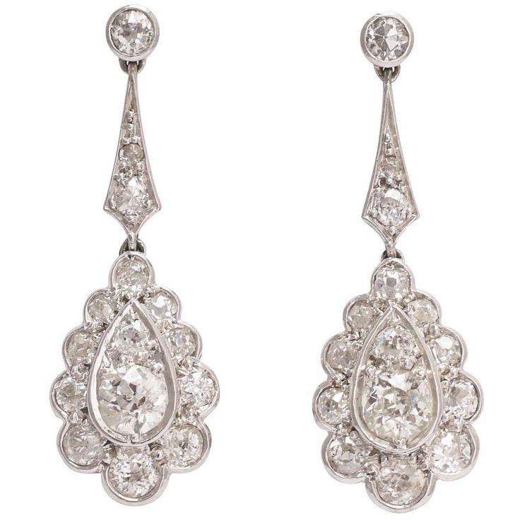 Edwardian 2 Carat Diamond Drop Platinum Earrings 1
