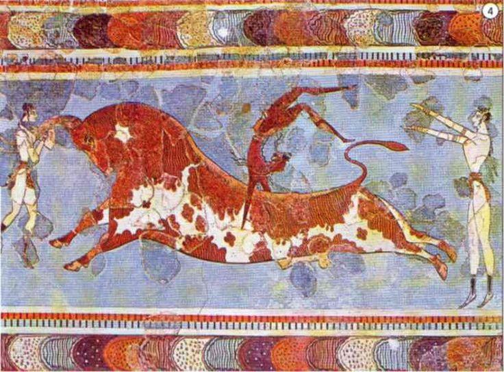 Gioco del toro, ca 1700-1400 a.C. Affresco. Dal Palazzo di Cnosso. Iraklion, Museo Archeologico.