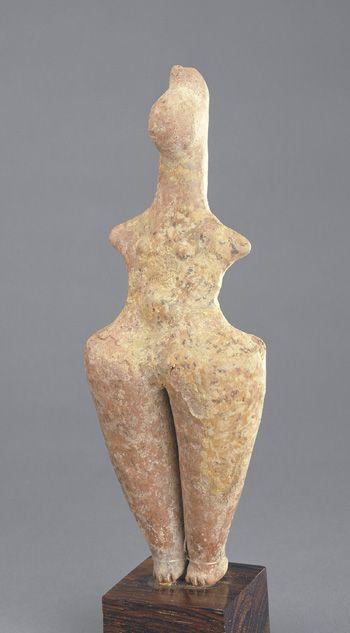 Female figurine ca. 1400-800 B.C.E.  Northern Iran                       Iron Age I - II     Ceramic   H:    22.2  W:     8.5   D:     5.0  cm  Northern...