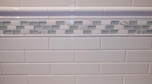 Pencil tile trim glossy subway tile with 2 x 8 for 8 x 4 bathroom designs