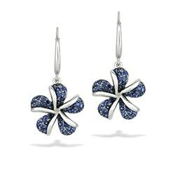 White Gold Plumeria Pavé Blue Sapphire Leverback Earrings - Earrings - Jewelry Type