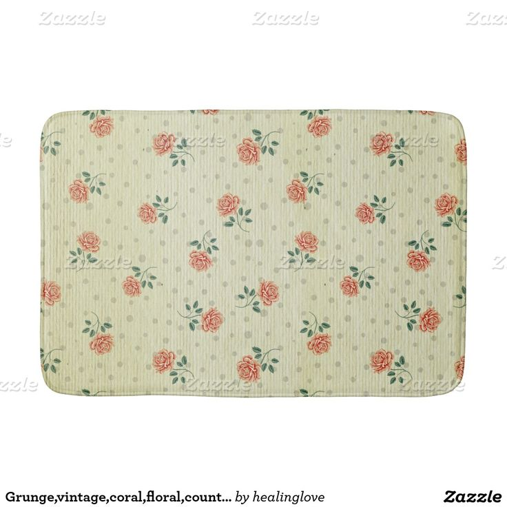 Grunge,vintage,coral,floral,country,chic,victorian Bath Mats