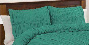 SCALABEDDING 100% coton égyptien – 400 fils/cm²-Tissu ruché Shams recueillies petit oreiller carrée Cyan