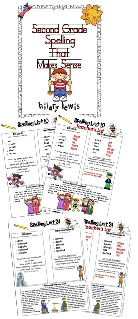 2nd Grade Spelling Lists That Make Sense-Students practice a word family or skill for the week then apply what they've learned to the rest of their words! Practice high frequency words too!
