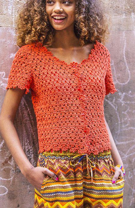 Wol Catania, 350-450 g in oranje kleur 06193 1 haaknaald nr. 2,5 7 ronde knopen naar keuze, 10 mm doorsnede