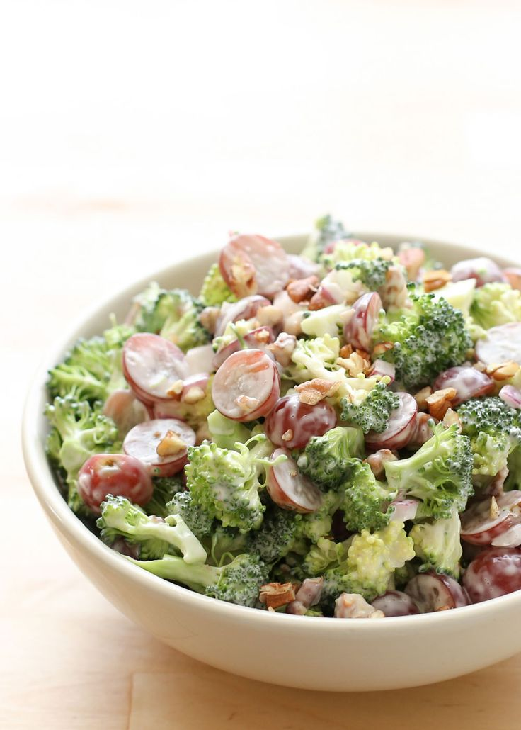 Broccoli Salad with Grapes and Pecans recipe by Barefeet In The Kitchen