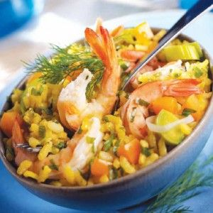 Γαρίδες με ρύζι και κρόκο Κοζάνης