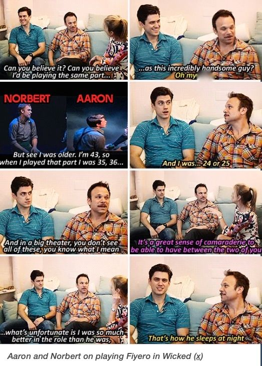 Norbert Leo Butz (original Fiyero) and Aaron Tveit (replacement Fiyero) talking about playing Fiyero on Broadway for Wicked
