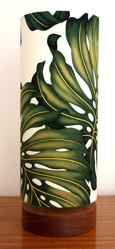 hawaiian monstera leaf tall circle lamp