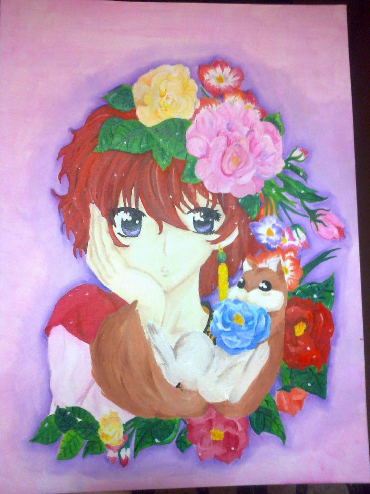 Pintura al oleo de Akatsuki no Yona, Yona y Ao