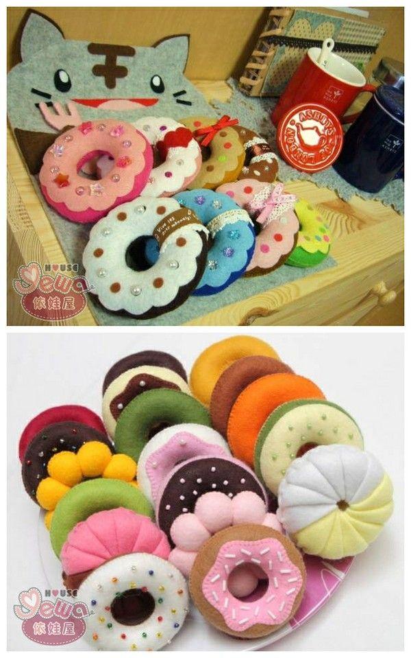 Donas de fieltro yummy! - Felt donnuts Like & Repin. Noelito Flow. Noel…