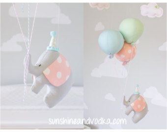 Elephant Baby Mobile Girls Nursery Decor Pink by sunshineandvodka
