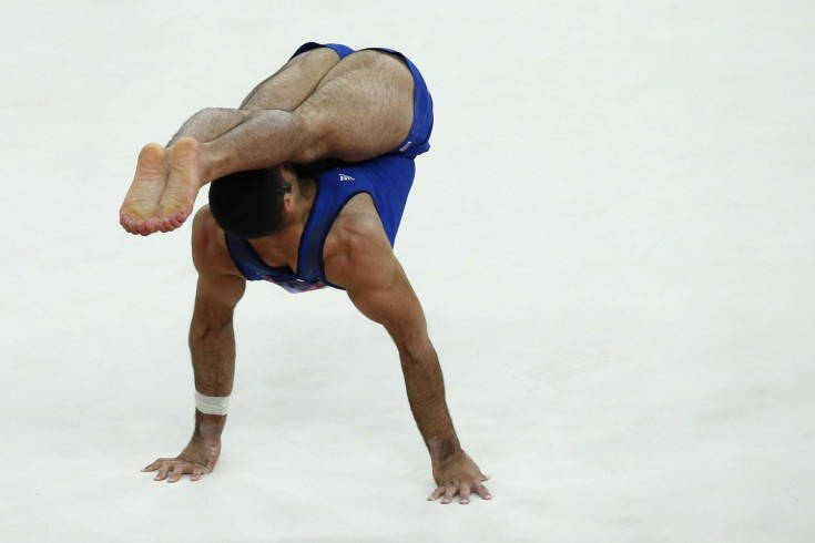 U.S. gymnast Danell Leyva performs on the floor during the men's individual all-around competition of the artistic gymnastics event of the London Olympic Games.