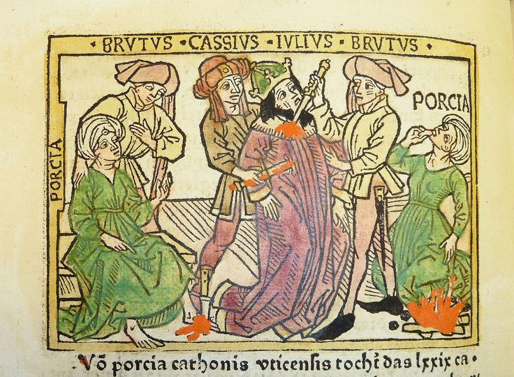 Woodcut illustration of Porcia Catonis counseling Marcus Junius Brutus, Julius Caesar's death at the hands of Brutus and Gaius Cassius Longinus, and Porcia's suicide - Penn Provenance Project - Assassination of Julius Caesar - Wikipedia, the free encyclopedia