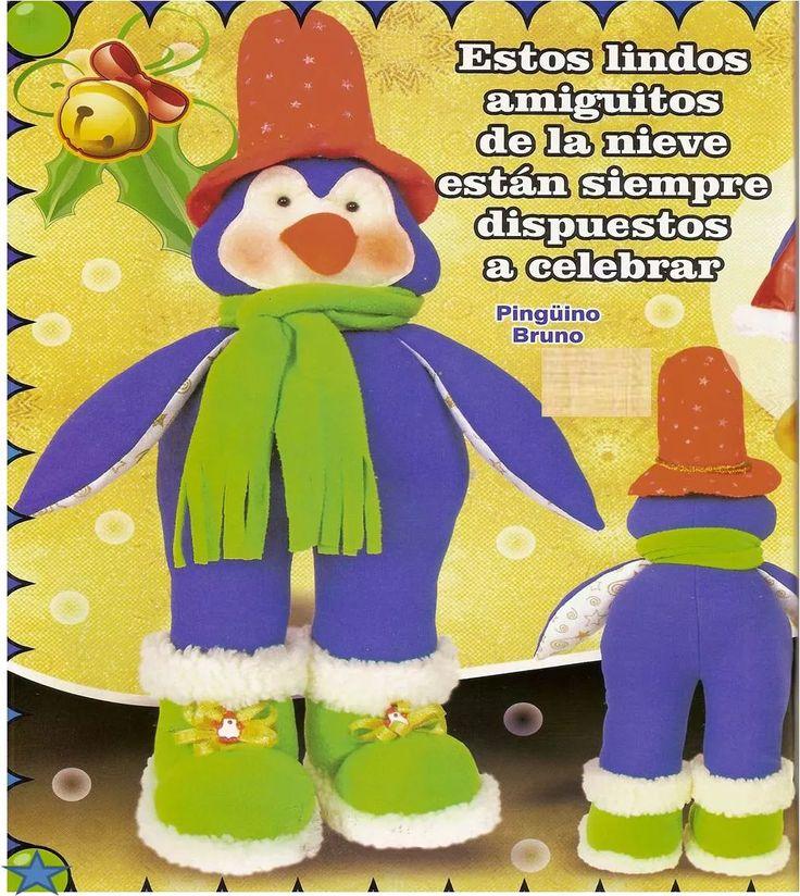 Patrón Pinguino azul navideño