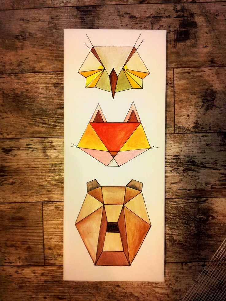 Forsest Animals : Owl, Fox & Bear Decorative panel 20cm/50cm, Canvas on wood support Price starting with 50 Eur