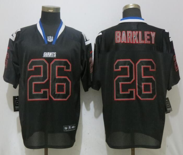 watch 9e251 67c40 Nike Giants 26 Saquon Barkley Black Lights Out Elite Jersey ...
