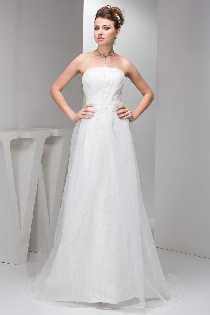 Zipper Brush Train Appliques Sleeveless Tulle Strapless Wedding Dress