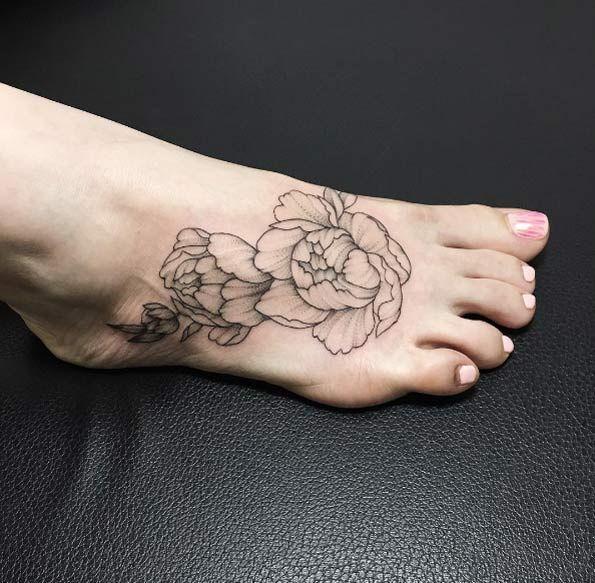 Peony tattoos on foot by Ira Shmarinova