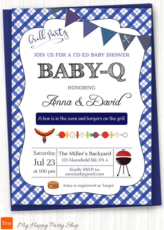 boy bbq baby shower invitation blue bbq shower by
