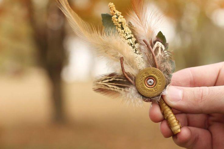 boutonniers from gun shells  | DIY Boutonnières shotgun shell pieces