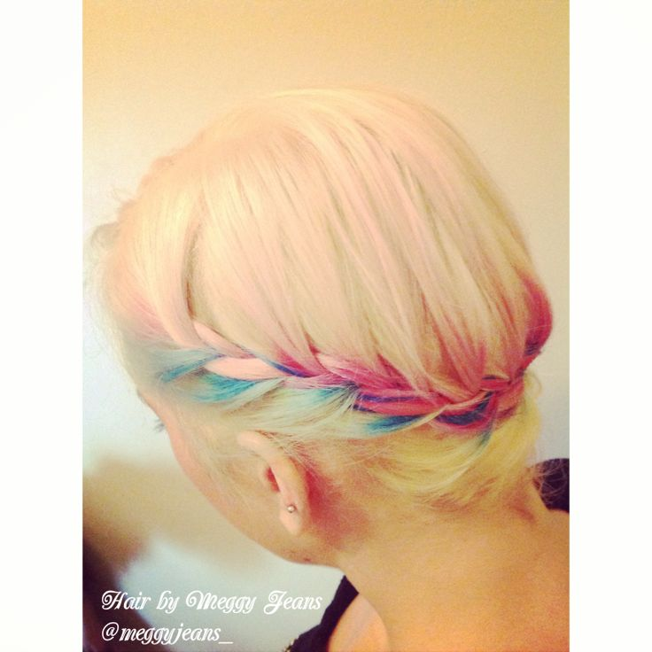 Pastel to bold colours in an amazing side braid. #Pink #purple #Blue hair #Hairbymeggyjeans