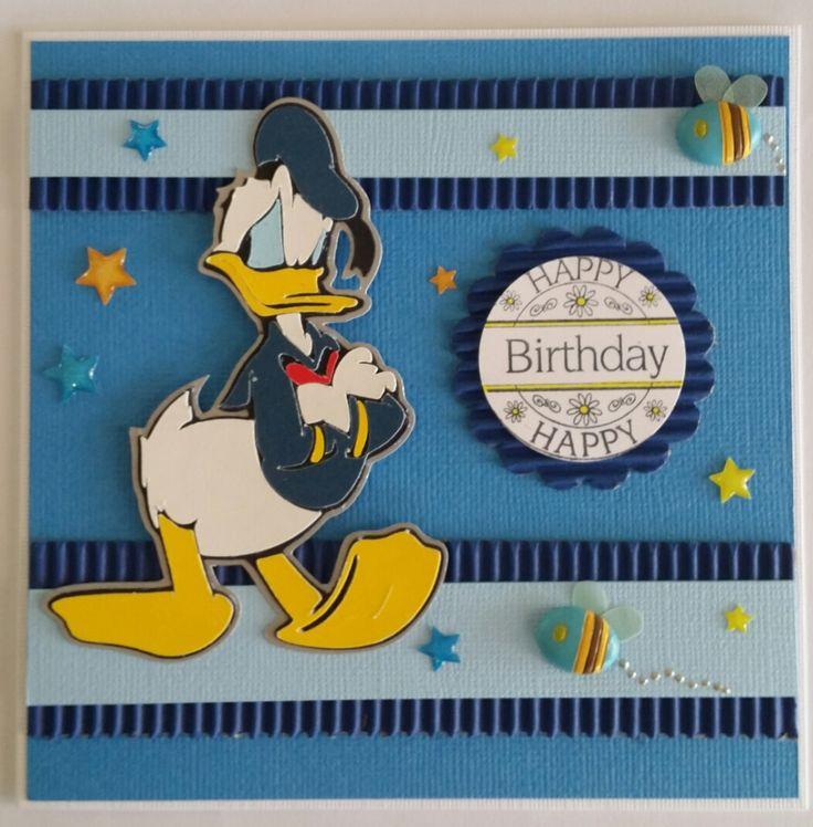 Challenge 1 - 2015 - Disney Paper Piecing,Donald Duck, birthday card