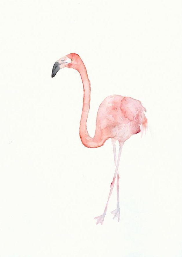 Aquarell pinker Flamingo, Kunst, Wohndeko / pink flamingo, illustration, home decor, art made by dearpumpernickel bird art via DaWanda.com