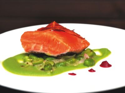 "Shore's Confit of Salmon ""Ham and Peas"""